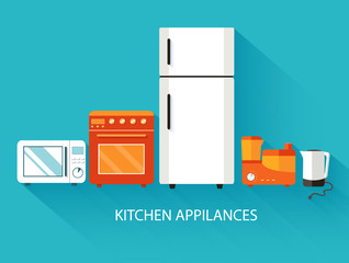 Flat modern kitchen appliances background concept. Vector illust