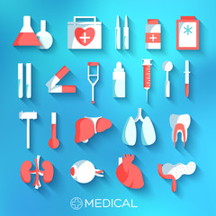 flat medicine equipment set icon concept on blurred background.