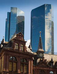 Dynamic business buildings and old houses in Frankfurt, Germany