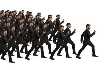 Marschierende Klone folgen Führungsperson