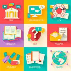 set of social business life illustrations design . Vector backgr