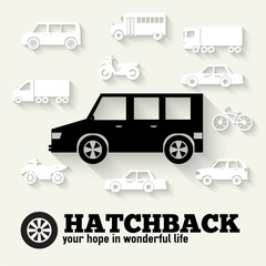 Flat hatchback car concept set icon backgrounds illustration des