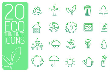 thin line eco neture set icons concept. Vector illustration desi