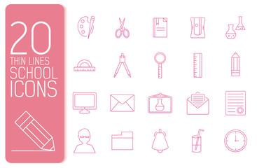 thin line office set icons school concept. Vector illustration d