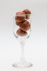 liqueur glass with nuts