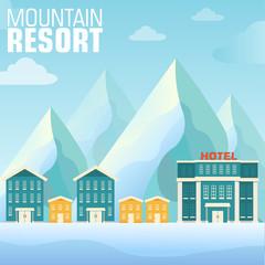flat resort mountain concept backgrounds. Vector illustration te