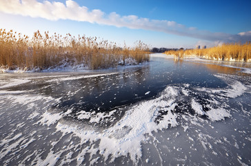 Beautiful winter landscape with frozen lake and reeds