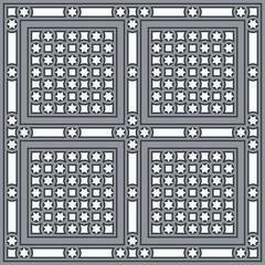 Vintage ornamental tile set square with border in blue