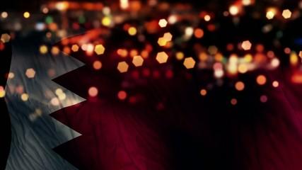 Bahrain Flag Light Night Bokeh Abstract Loop Animation