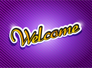 purple welcome card