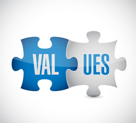 values puzzle pieces illustration design