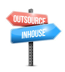 outsource, in-house street sign illustration
