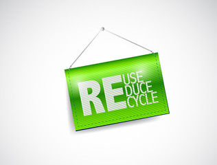 reduce, reuse, recycle hanging banner