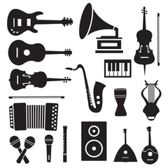 flat music instruments icons pictograms background concept. Vect