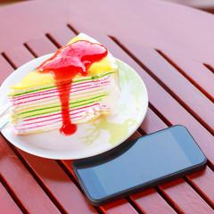Rainbow crape cake with strawberry jam