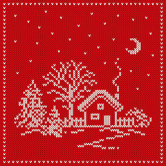 Christmas Knitted Background. Seamless Pattern