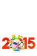 Jumping Car, New Year Ornament, 2015 On White Text Space