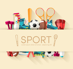 Circular concept of sports equipment sticker background. vector