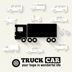 Flat truck car background illustration concept. Tamplate for web