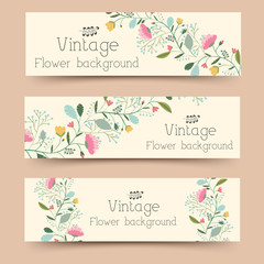 retro flower banners concept. Vector illustration design