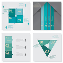 Collection of clean number banners template/website layout.