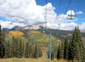 Ski lift in the autumn, Colorado