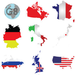 Flags of the G8 member counties