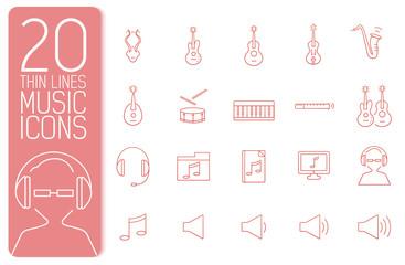 thin line music set icons concept. Vector illustration design