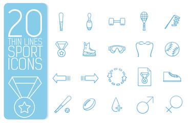 thin line sport set icons concept. Vector illustration design