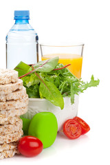 Dumbells and healthy food. Fitness and health