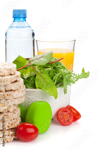 Aluminium Salade Dumbells and healthy food. Fitness and health
