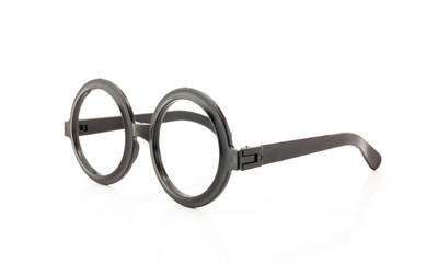 Round frame glasses isolated on white background