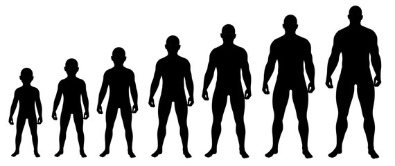 Boy growing up to Man silhouettes