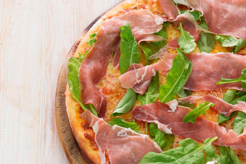 Pizza with dry cured ham