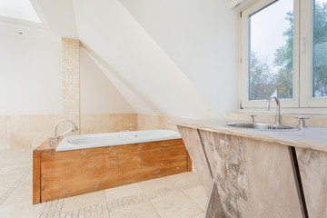 Wooden elements at the bathroom