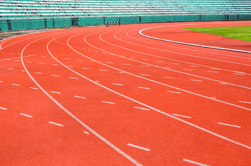 Athletic track with white line
