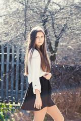 Beautiful girl in skirt