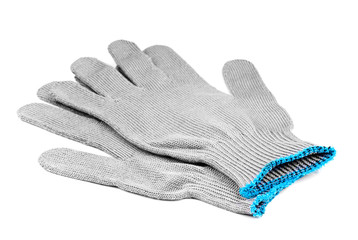 work gloves grey color isolated on white background