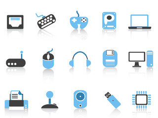 Computer & Devices icons set blue series