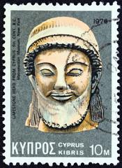 Limestone head from 5th century BC found in Cyprus (Cyprus 1976)