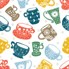 Colorful seamless pattern with cups.