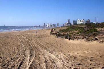 Tyre Tracks in Beach Sand on Durban Beach
