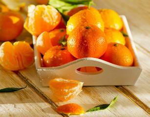Fresh Tangerines in   wooden box