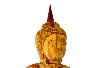 Head buddha carving gold teak wood