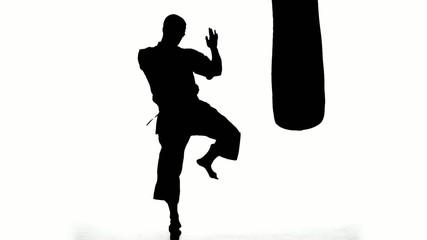 Silhouette karate man practicing on the sandbag on white