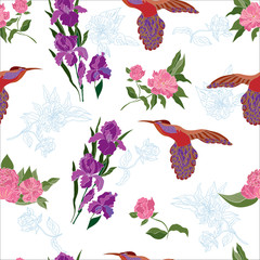 Seamless pattern with flowers peony