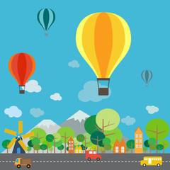 Hot air balloon over the mountain, infographics vector format