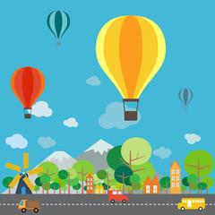 Hot air balloon over the mountain, infographics vector format