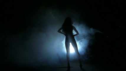 one sexy  woman stripper showgirl in silhouette studio isolated