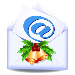 Open envelope with golden bells
